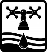 faucet, drop and wave icon