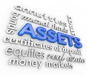 Assets Word Collage Money Terms Value Possessions