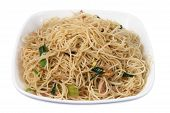 pic of rice noodles  - Plate of Fried Rice Noodles on White Background - JPG