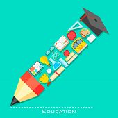 illustration of education icon in shape of pencil