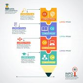 Creative infographics Template with pencil, puzzle and education icons. Abstract infographic Design