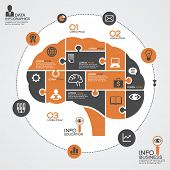 Puzzle in the form of abstract human brain surrounded infographic business. Business concept with ic