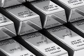 Stack Of Bank Silver Bars Closeup