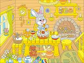 picture of cony  - Little rabbit decorating a fancy Easter cake in the kitchen - JPG