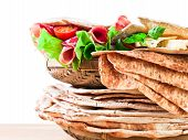 Unleavened Wheat Cake  With Smoked Meat Isolated On White