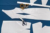 Tailor Tools And Paper Sample Of Clothes