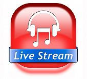 live stream music song audio or listen to radio streaming button or icon