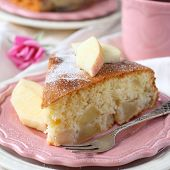 Slice Of Homemade Apple Sponge Cake On Pink Plate