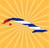 Cuba map flag on sunburst illustration
