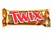 Twix cookie bars isolated on white background