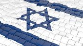 pic of israeli flag  - 3D abstract background with flag of Israel - JPG
