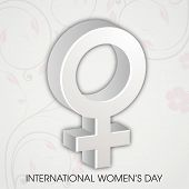 International Happy Women's Day celebration concept with women symbol on grey background.
