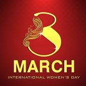 Happy Women's Day celebrations greeting card design with stylish golden text 8 March on red background.