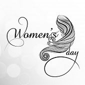 Beautiful background for Happy Women's Day with stylish text and beautiful long hairs design on grey background.