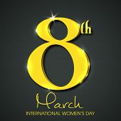 International Happy Women's Day celebration concept with stylish golden text 8th March on grey background.