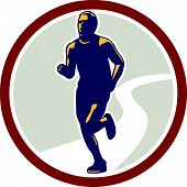 Marathon Runner Running Circle Retro