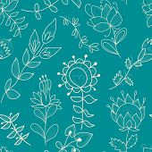 Seamless Turquoise Texture With Contour Flower