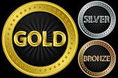 Golden, silver and bronze empty coins, vector illustration