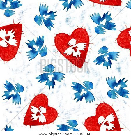 Постер, плакат: Голубой ангел любви с сердца бесшовные модели, холст на подрамнике