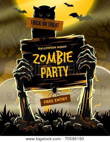 Halloween vector illustration - Dead Man's arms from the ground with invitation to zombie party poster