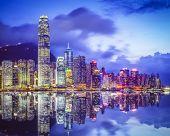 Hong Kong, China city skyline.
