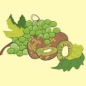 Uvas e kiwi
