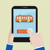 minimalistic illustration of booking a train ticket on a mobile device, eps10 vector