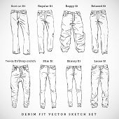 Denim Fit Hand Drawn Vector Sketch Set