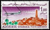 Postage Stamp Algeria 1967 Caravelle Over Ghardaia