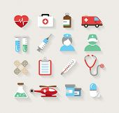 Collection of medical icons in modern flat design style.