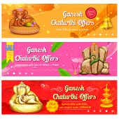 illustration of banner for Ganesh Chaturthi sale promotion