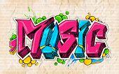 stock photo of graffiti  - illustration of music background graffiti style - JPG