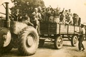 SIERADZ, POLAND, CIRCA SIXTIES - Vintage photo of farm workers traveling on trailer of tractor