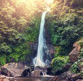 Waterfall in Indonesian jungle
