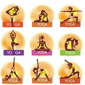 Set of woman in meditating and doing yoga poses