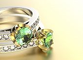 Golden Ring with Diamond. Jewelry background. Peridot