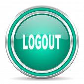 logout green glossy web icon