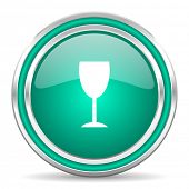 alcohol  green glossy web icon