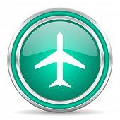 plane green glossy web icon