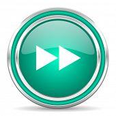 rewind green glossy web icon