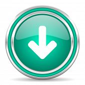 download arrow green glossy web icon