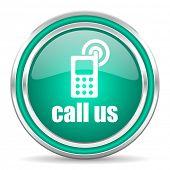 call us green glossy web icon
