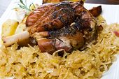 Pork Knuckle Baked With  Sauerkraut