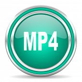 mp4 green glossy web icon