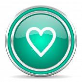 heart green glossy web icon