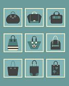 Unique blue women purse square icons