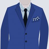 Male fashionable blue suit with checkered shirt and tie close up