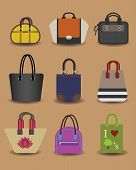 Unique colorful fashionable women purse icons
