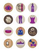 Flat women Yoga essentials icons