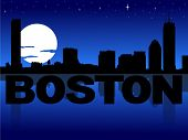 Boston skyline reflected with text and moon vector illustration